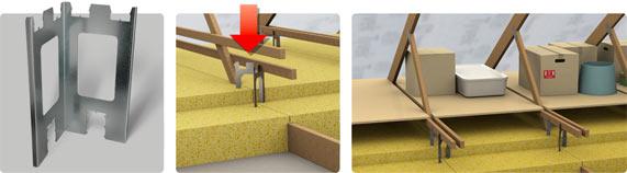 Beslag til hylder og gangbro på loft